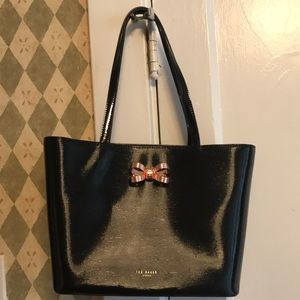 black ted baker london bag w/rose gold bow &clutch